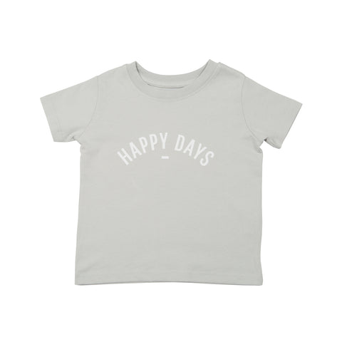 Pale Grey Short-Sleeved 'HAPPY DAYS' T-shirt