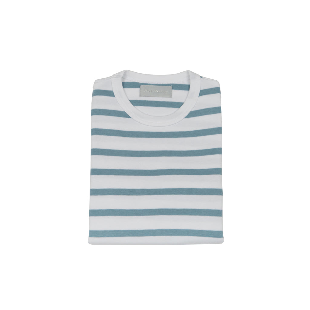 Ocean Blue & White Breton Striped T Shirt
