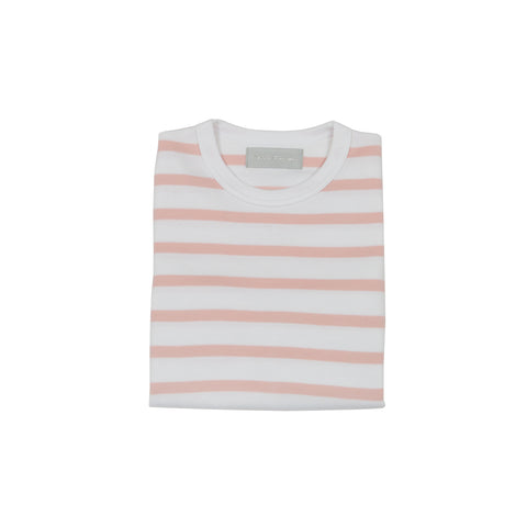 Dusty Pink & White Breton Striped T Shirt