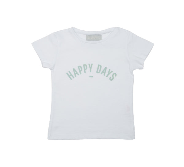 White 'HAPPY DAYS' Cap-Sleeved T-Shirt