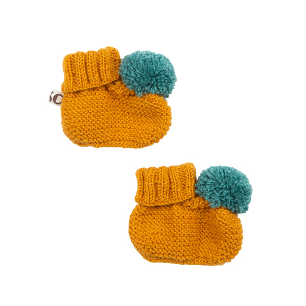 Mustard Knitted Booties With Pom Pom