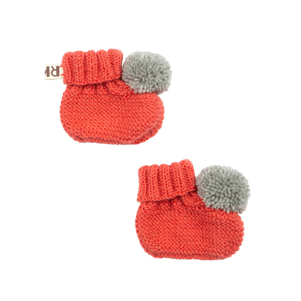 Raspberry Knitted Booties With Pom Pom