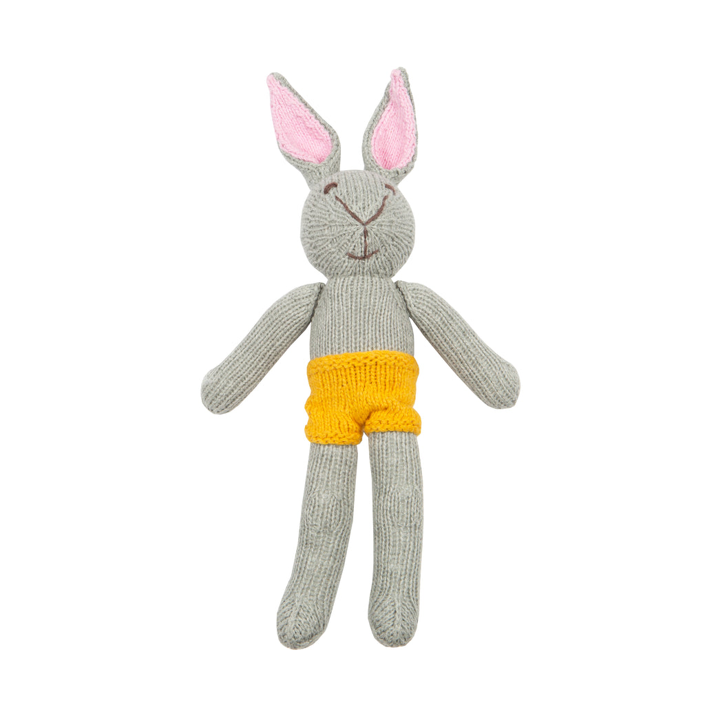 Grey Bunny Knitted Toy With Mustard Shorts