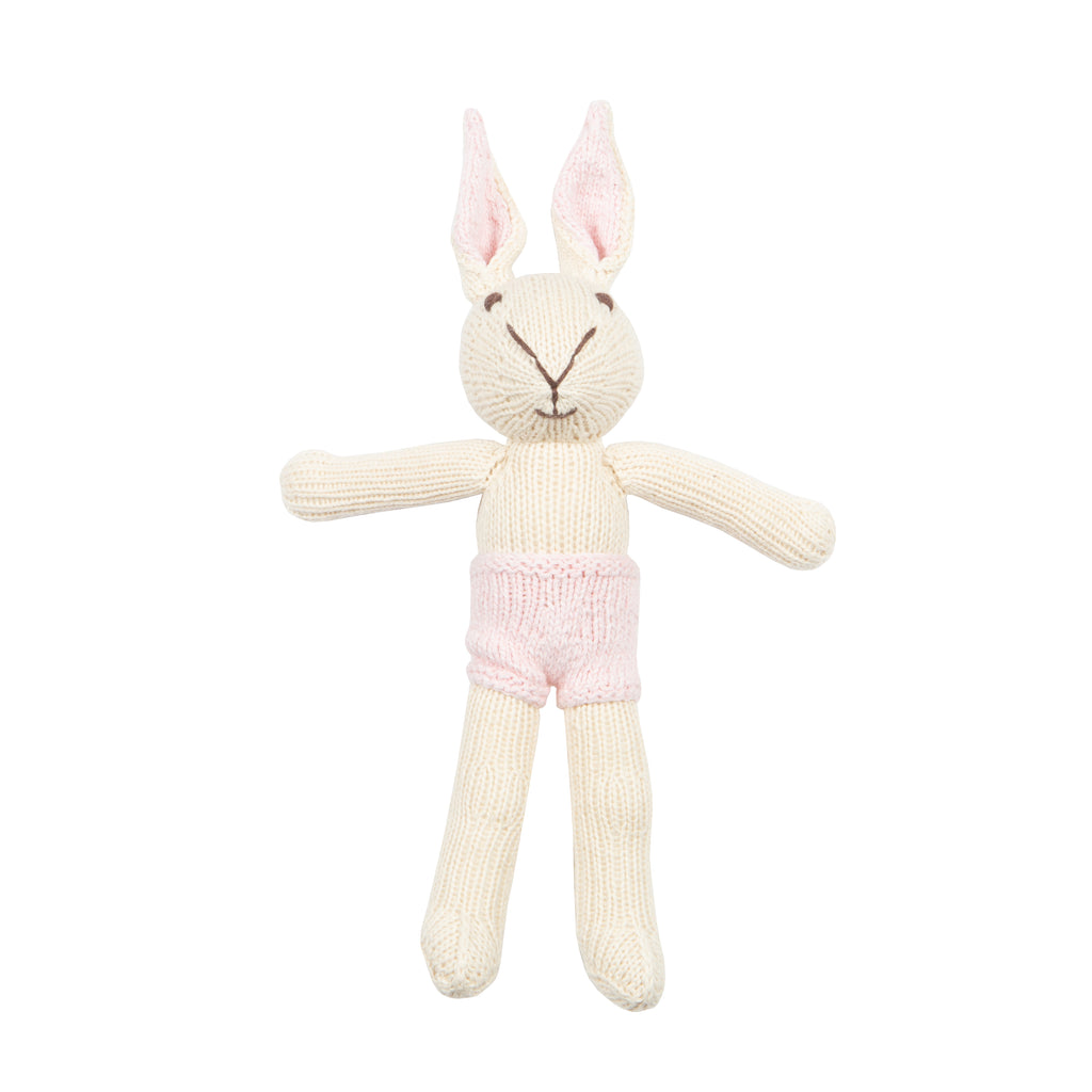 White Bunny Knitted Toy with Pale Pink Shorts