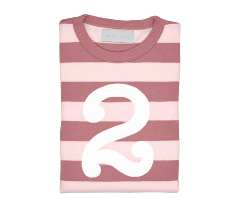 Vintage & Powder Pink Striped Number 2 T Shirt