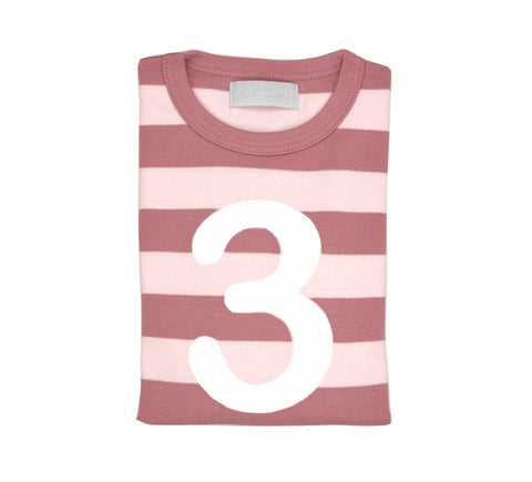 Vintage & Powder Pink Striped Number 3 T Shirt