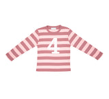 Vintage & Powder Pink Striped Number 4 T Shirt