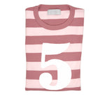 Vintage & Powder Pink Striped Number 5 T Shirt