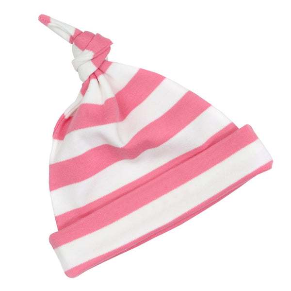 Bright Pink & White Striped Hat