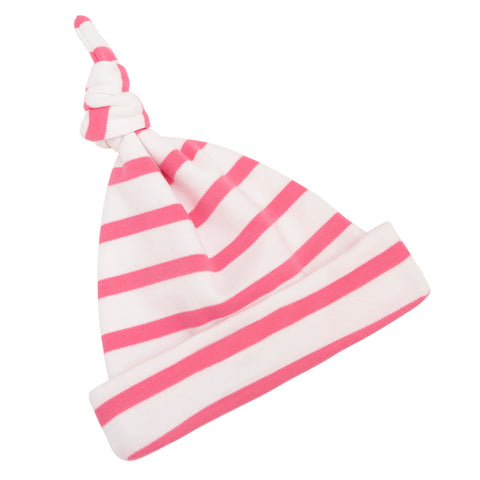 Coral Pink & White Breton Striped Hat