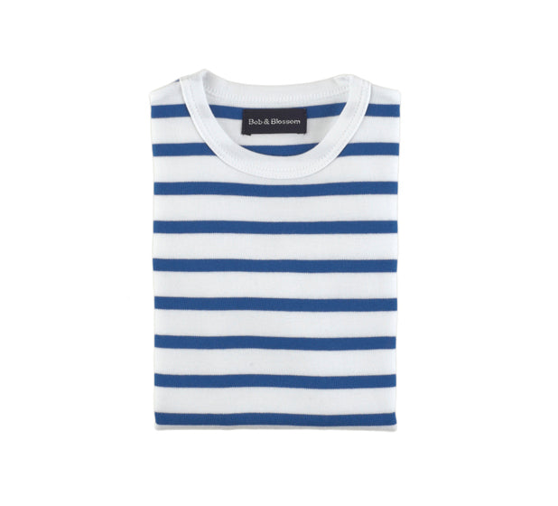French Blue & White Breton Striped T Shirt