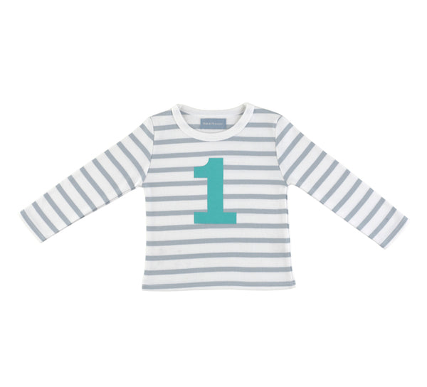 Grey & White Breton Striped Number 1 T Shirt (Turquoise)