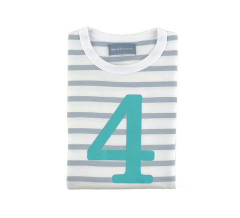 Grey & White Breton Striped Number 4 T Shirt (Turquoise)