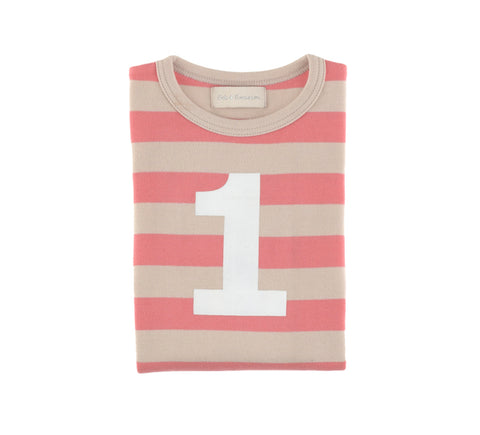 Posy Pink & Sand Striped Number 1 T Shirt