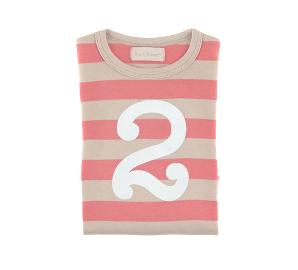Posy Pink & Sand Striped Number 2 T Shirt