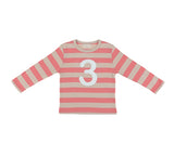 Posy Pink & Sand Striped Number 3 T Shirt