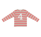 Posy Pink & Sand Striped Number 4 T Shirt