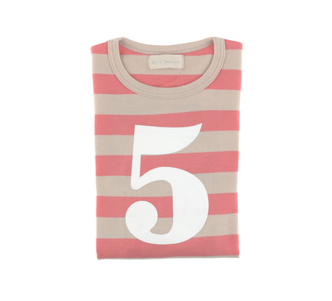 Posy Pink & Sand Striped Number 5 T Shirt