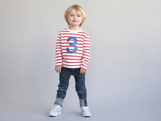 Red & White Breton Striped Number 3 T Shirt