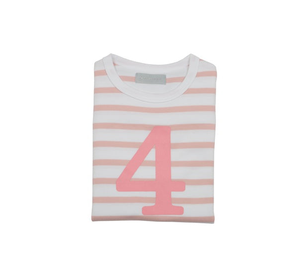 Dusty Pink & White Breton Striped Number 4 T Shirt