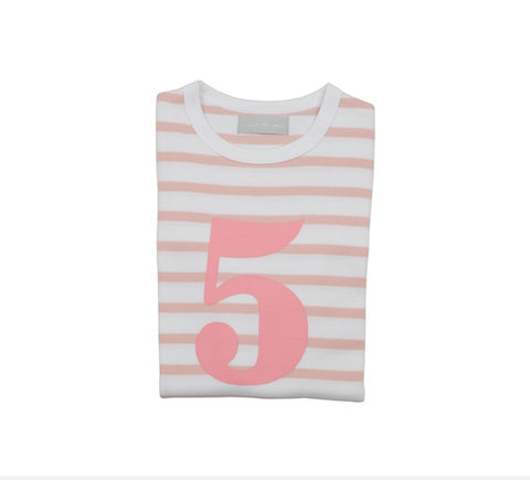 Dusty Pink & White Breton Striped Number 5 T Shirt