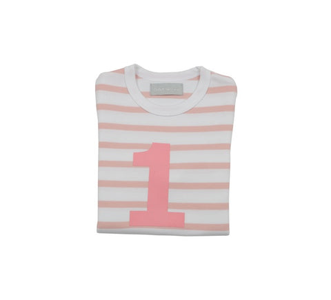 Dusty Pink & White Breton Striped Number 1 T Shirt