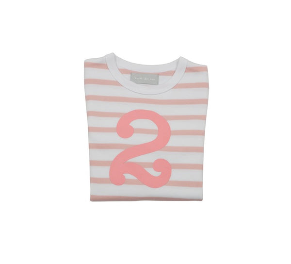 Dusty Pink & White Breton Striped Number 2 T Shirt