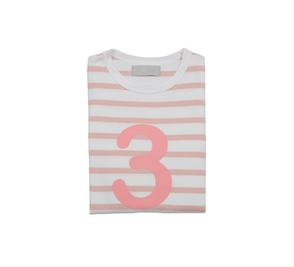 Dusty Pink & White Breton Striped Number 3 T Shirt