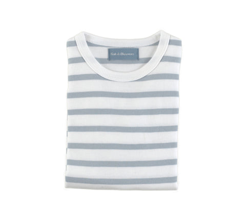Grey & White Breton Striped T Shirt