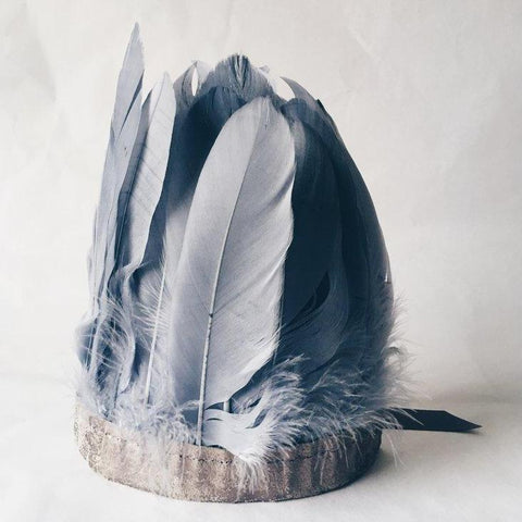 Handmade Feather Headdress - Grey