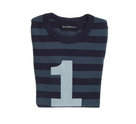 Vintage Blue & Navy Striped Number 1 T Shirt