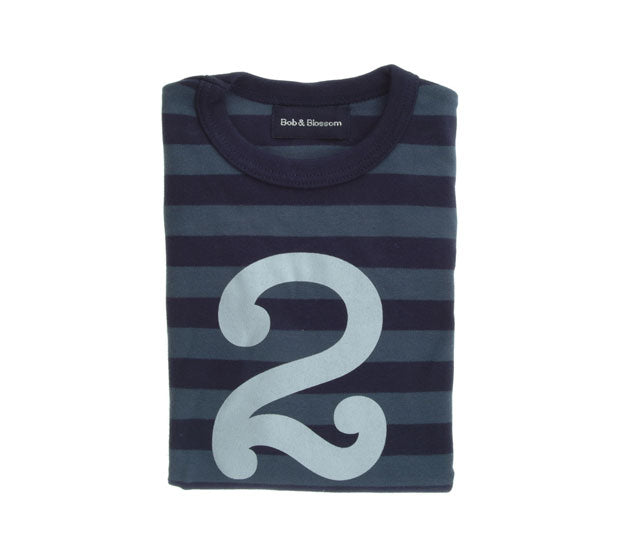 Vintage Blue & Navy Striped Number 2 T Shirt