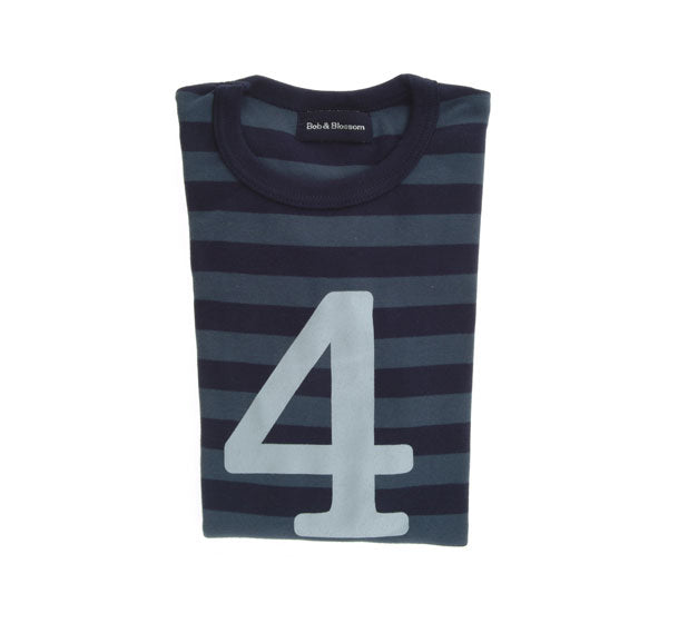 Vintage Blue & Navy Striped Number 4 T Shirt
