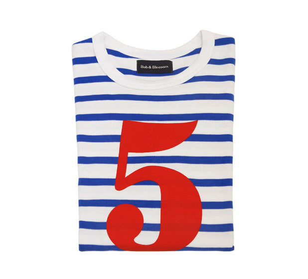 French Blue & White Breton Striped Number 5 T Shirt