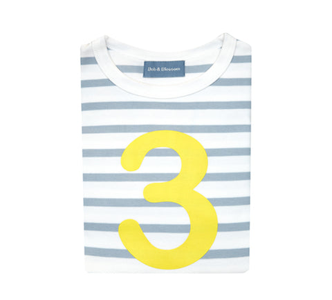 Grey & White Breton Striped Number 3 T Shirt (Yellow)