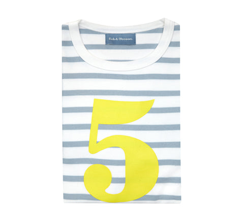 Grey & White Breton Striped Number 5 T Shirt (Yellow)
