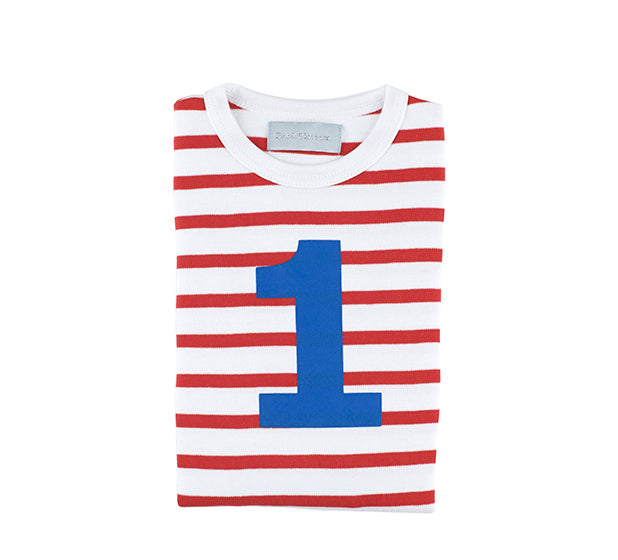 Red & White Breton Striped Number 1 T Shirt