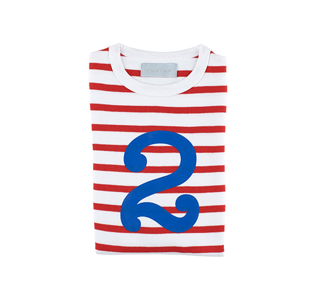 Red & White Breton Striped Number 2 T Shirt