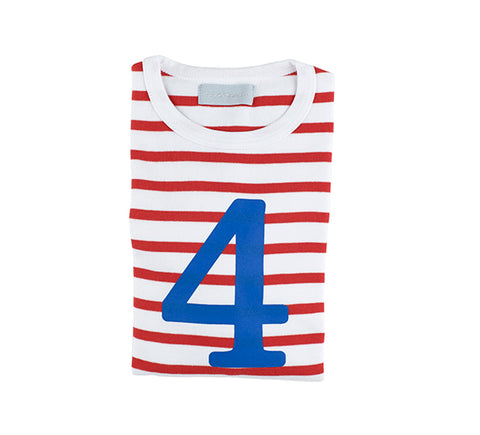 Red & White Breton Striped Number 4 T Shirt