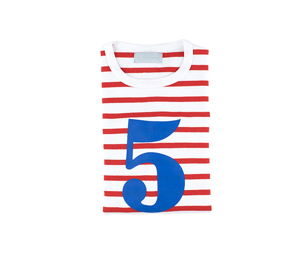 Red & White Breton Striped Number 5 T Shirt