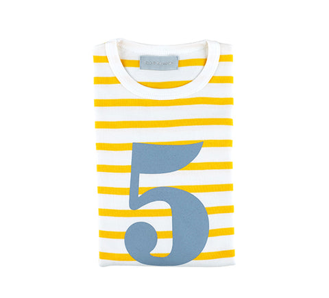 Yellow & White Breton Striped Number 5 T Shirt