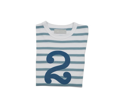 Ocean Blue & White Breton Striped Number 2 T Shirt
