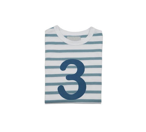 Ocean Blue & White Breton Striped Number 3 T Shirt