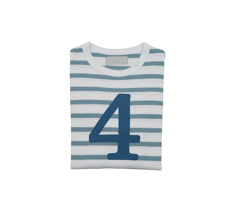 Ocean Blue & White Breton Striped Number 4 T Shirt