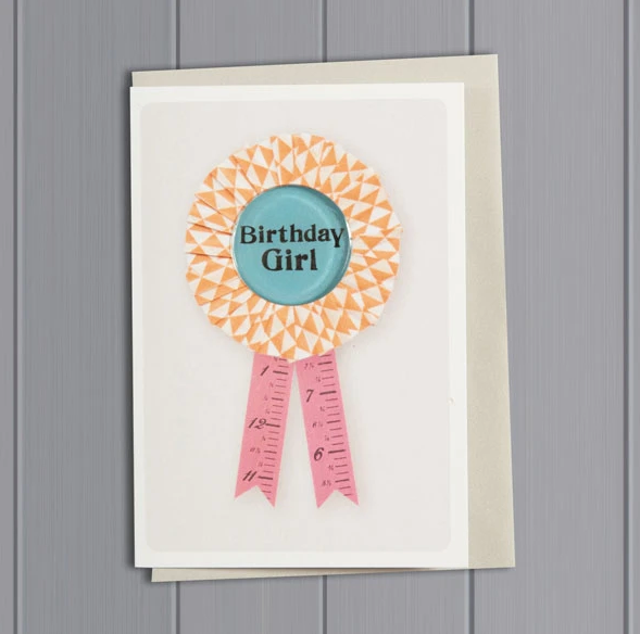 Birthday Girl Orange - Rosette Card