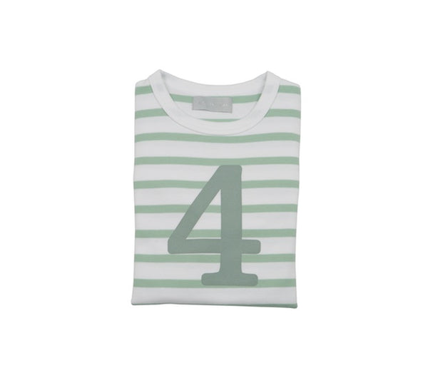 Seafoam & White Breton Striped Number 4 T Shirt