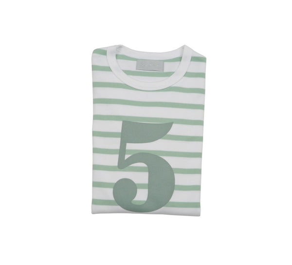 Seafoam & White Breton Striped Number 5 T Shirt
