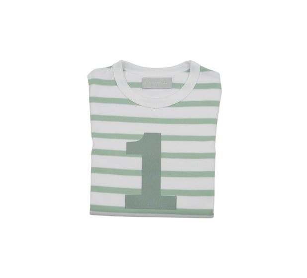 Seafoam & White Breton Striped Number 1 T Shirt