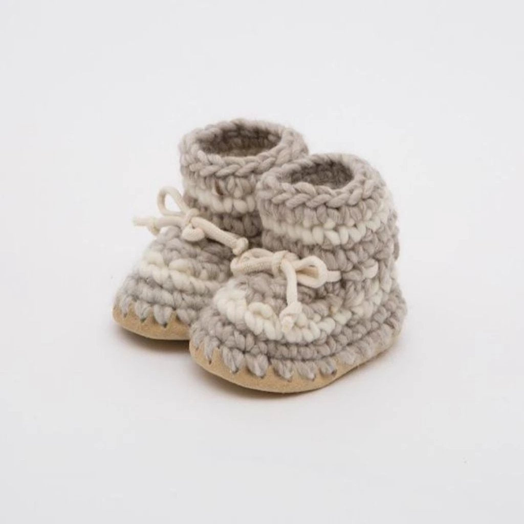 Knitted Booties with Sheepskin Lining - Stone