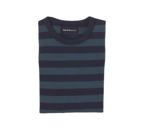 Vintage Blue & Navy Striped T Shirt